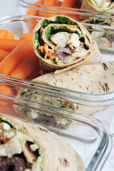 Healthy Greek Chicken & Hummus Wraps