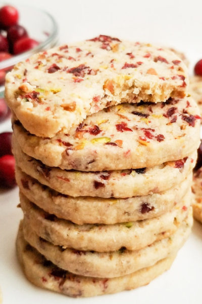 Ginger Cranberry Pistachio Shortbread Cookies