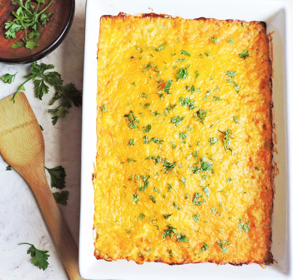 cheesy cauli-hashbrown casserole