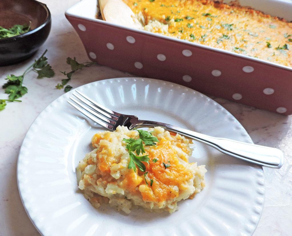cheesy cauli-hashbrown casserole