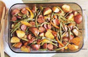 spicy turkey sausage veggie bake