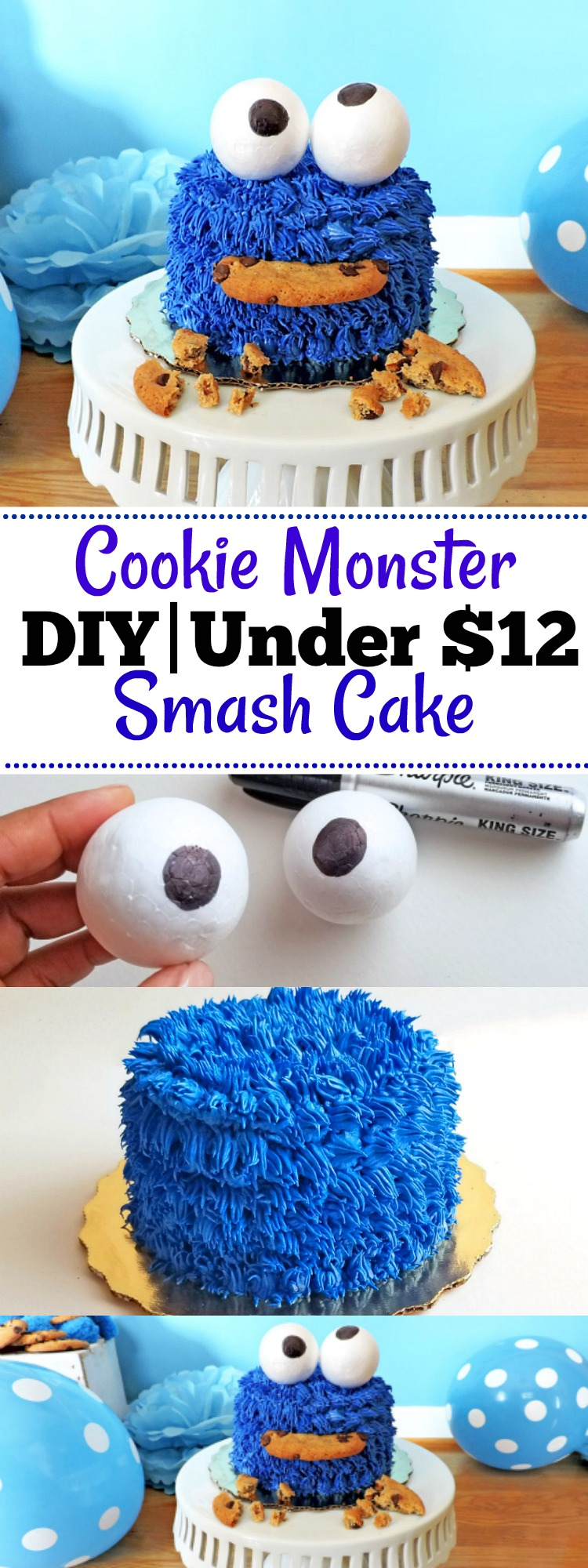 DIY Cookie Monster Smash Cake Beautiful Eats Things
