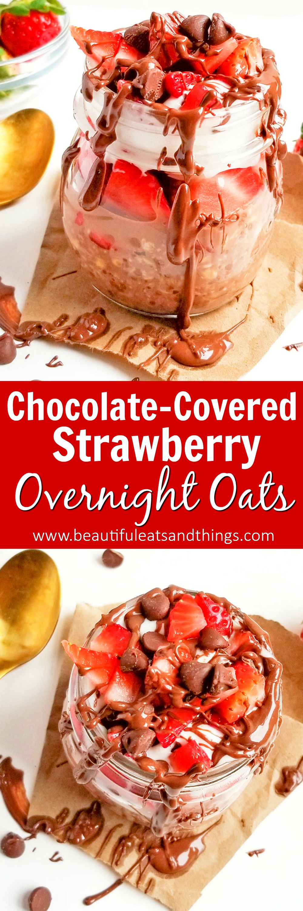 Decadent Chocolate Covered Strawberry Overnight Oats