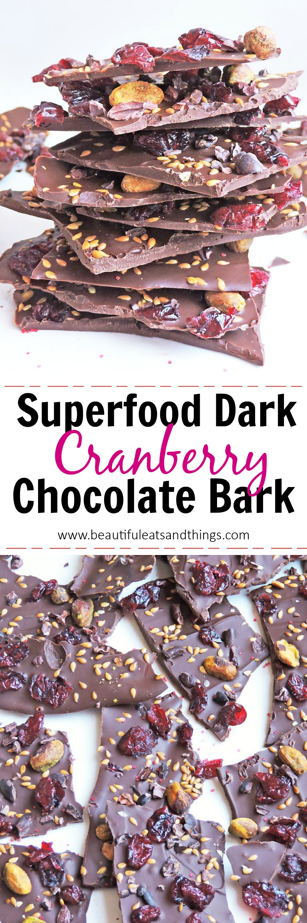 Superfood Dark Chocolate Cranberry Bark Pinterest Pin