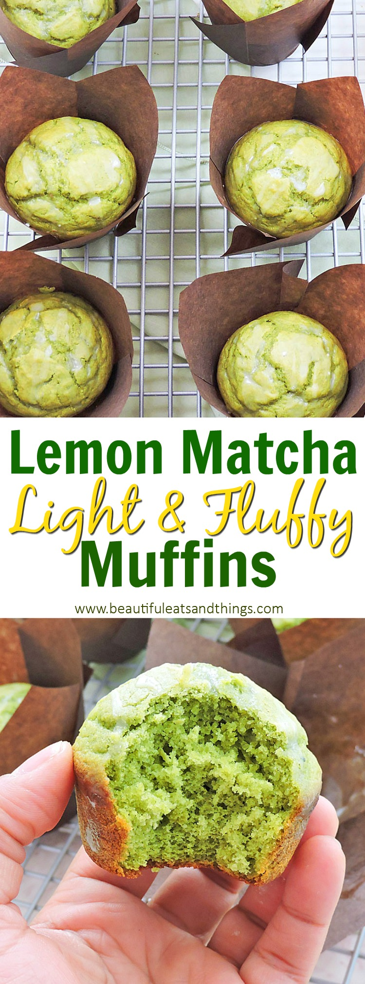 Light and Fluffy Matcha Lemon Muffins