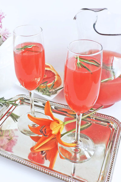 Rosemary Infused Grapefruit Mimosa