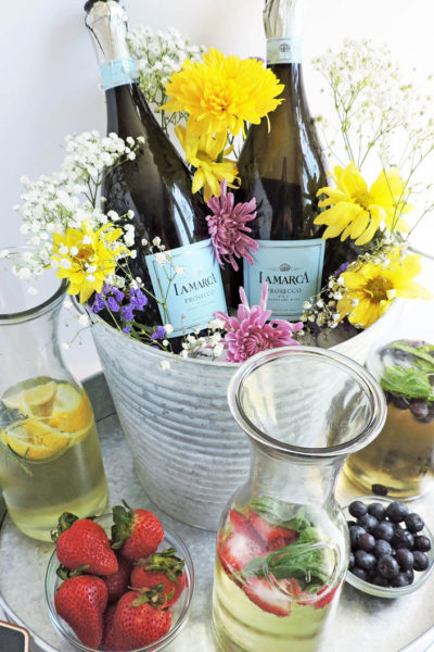 DIY Rustic Garden Party Centerpiece + Cocktail Station