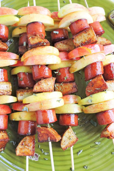 Easy Morning Sausage & Apple Breakfast Skewers