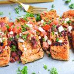 Grilled Mediterranean Bruschetta Salmon