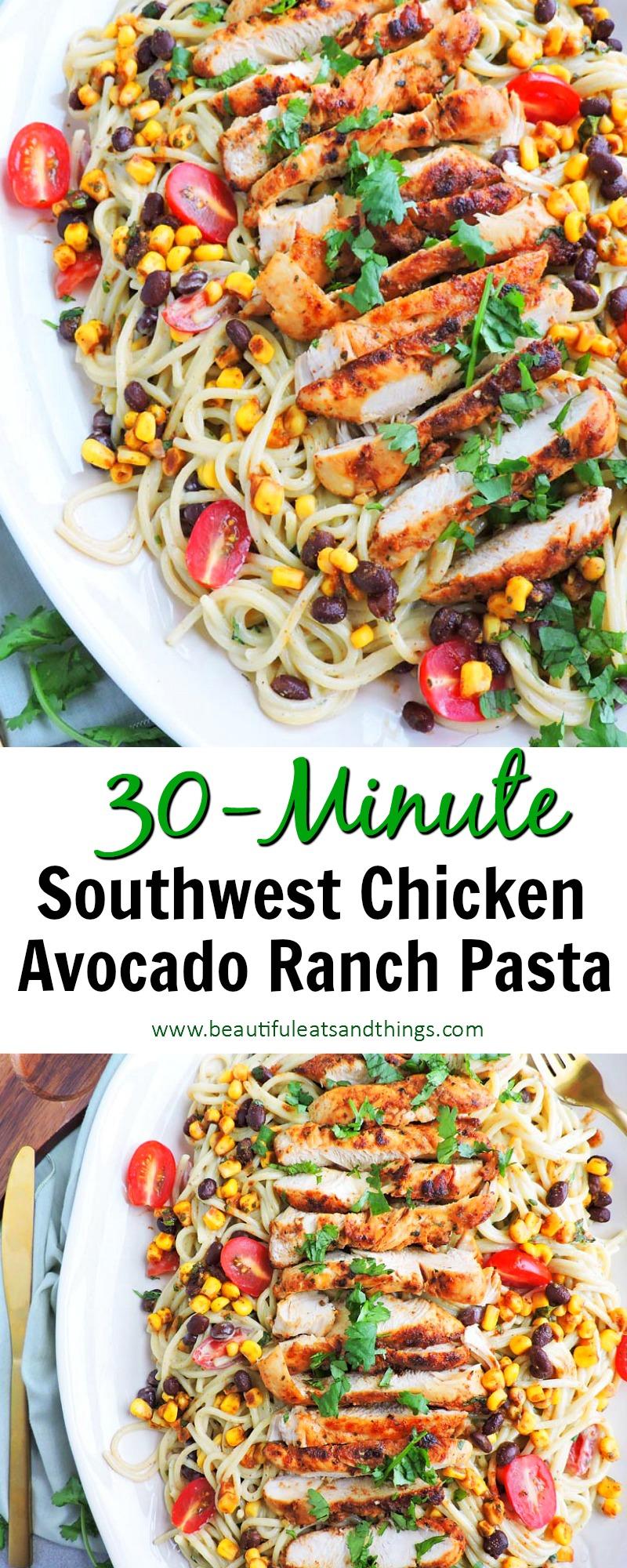Southwest Chicken Avocado Ranch Pasta