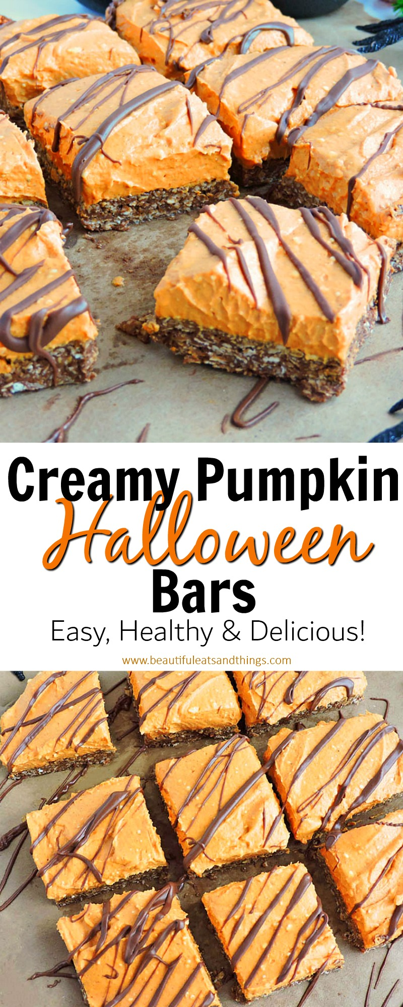 Creamy Pumpkin Chocoalte Granola Bars-Orange pumpkin bars drizzled with chocolate making these the perfect Halloween bars