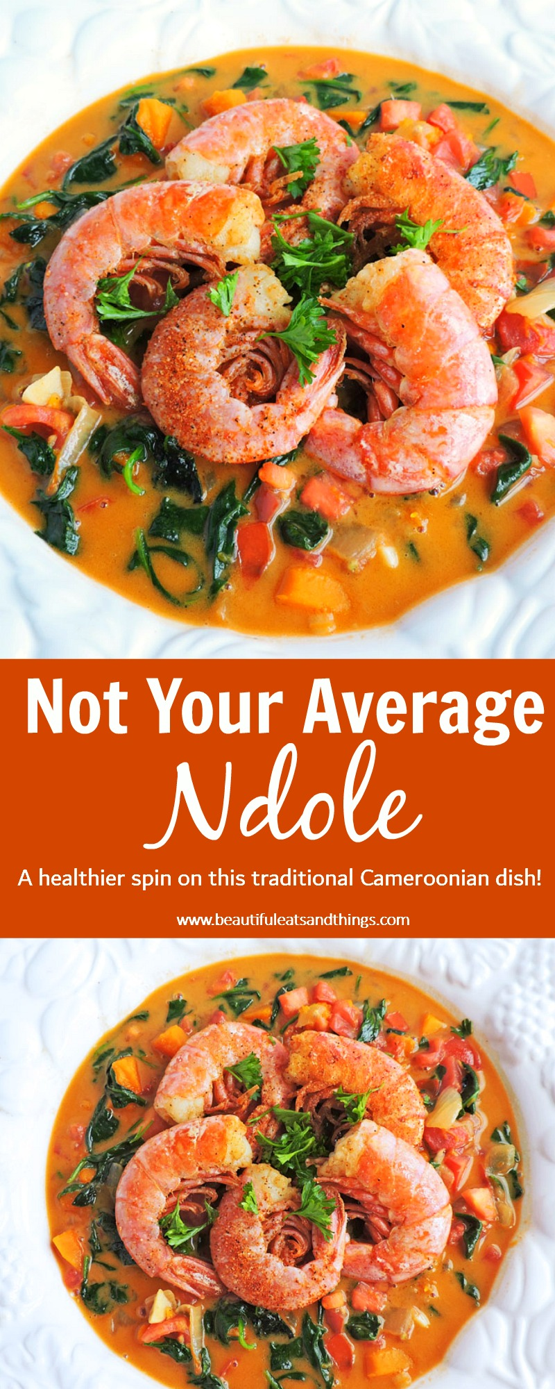 Ndole, a Cameroonian Peanut Stew served in a white bowl with cajun shrimp or prawns on top beautifuleatsandthings.com